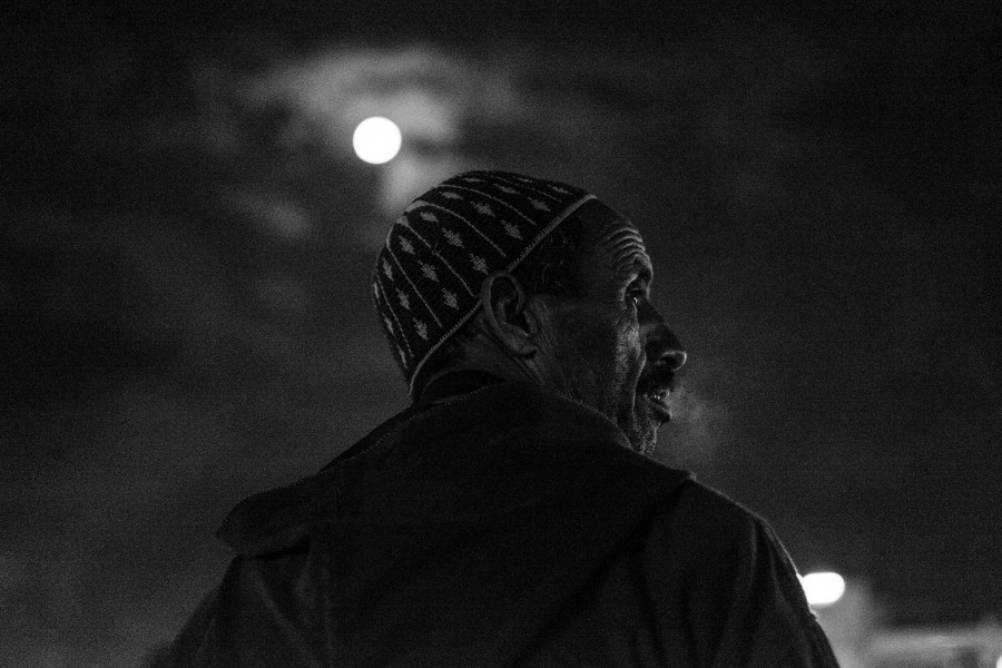 Man in Jemaa el-Fnaa, Marrakech, 2015.